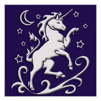 White Unicorn at Night Print