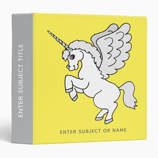 White Unicorn Bright Yellow Personalized 3 Ring Binder