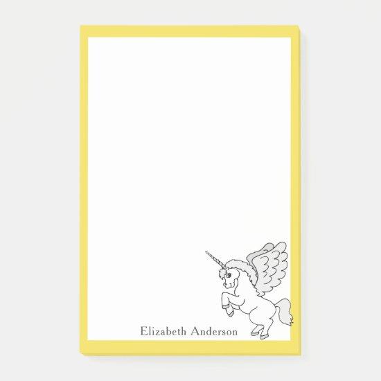 White Unicorn Custom Name Yellow Post-it Notes