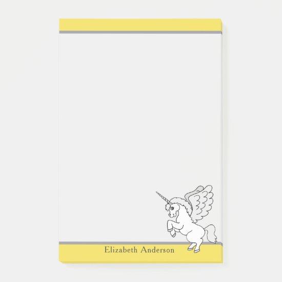 White Unicorn Personalized Modern Yellow Post-it Notes