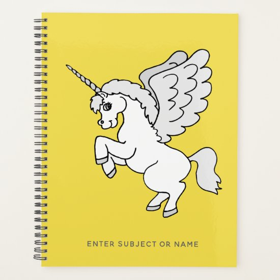 White Unicorn Personalized Yellow Planner