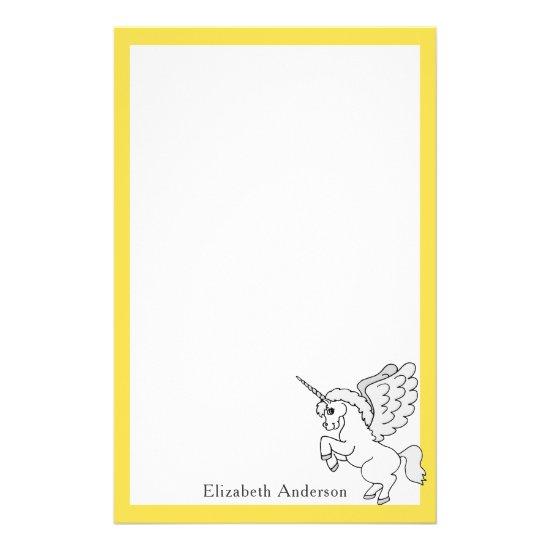 White Unicorn Personalized Yellow Stationery
