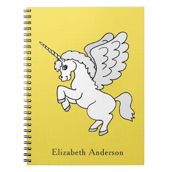 White Unicorn Yellow Personalize Notebook