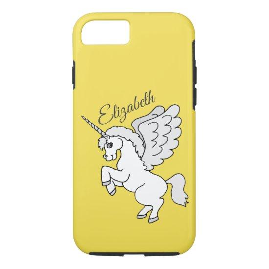 White Unicorn Yellow Personalized iPhone 8/7 Case