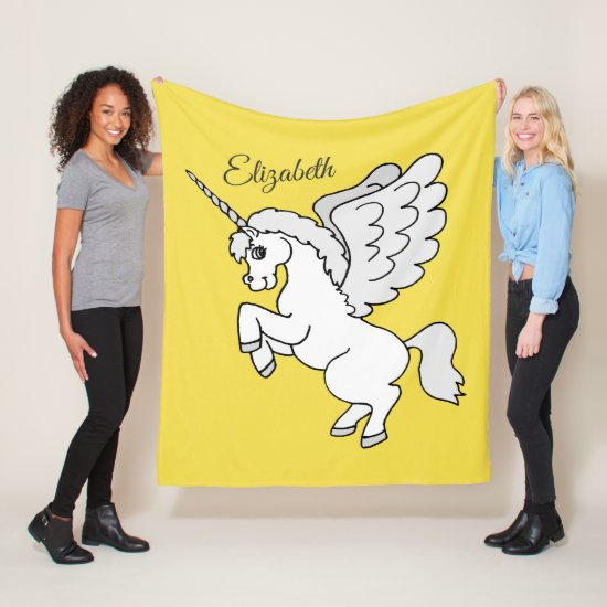 White Unicorn Yellow Personalized Medium Fleece Blanket