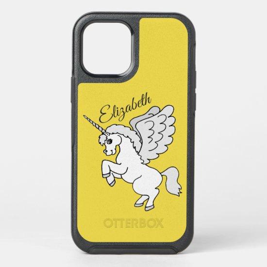 White Unicorn Yellow Personalized OtterBox Symmetry iPhone 12 Case