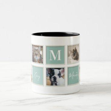 White Vintage Frame Pet Mom Monogram and Photo Two-Tone Coffee Mug