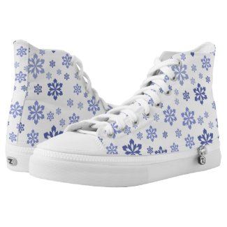 White With Blue Snowflake Pattern Printed Shoes