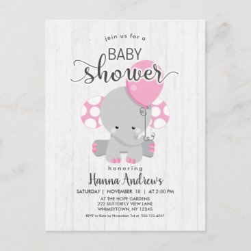 White Wood Pink Elephant Baby Shower Invitation