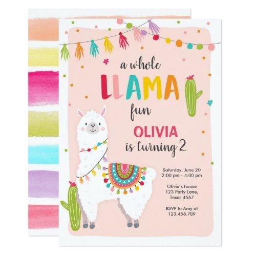Whole llama fun birthday invitation Alpace Cactus