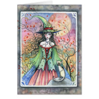 Wiccan Siamese Halloween Witch Card