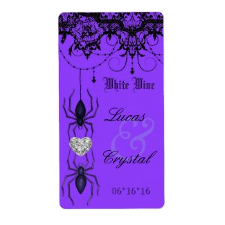 Wicked Victorian Spider Purple Wedding Wine Label