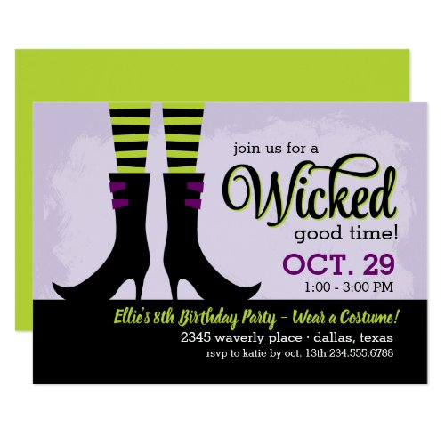 Wicked Witch Kids Birthday Costume Party Invitation