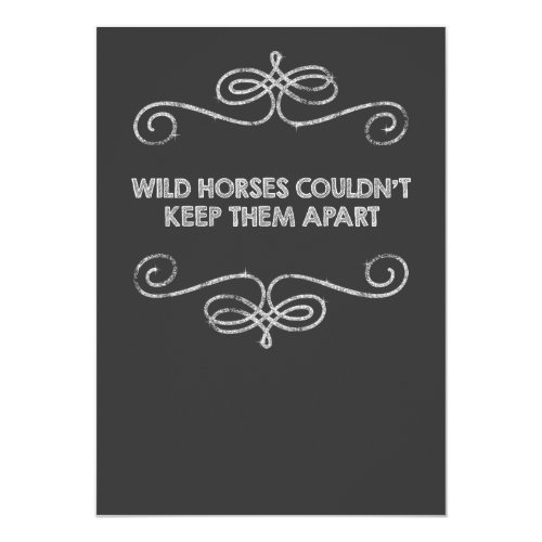Wild Horses Vintage Chalkboard Wedding Invitation