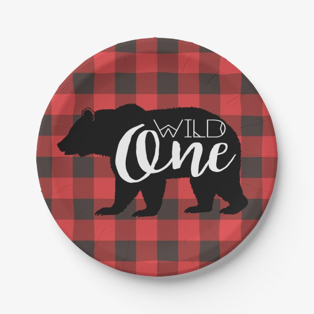 Wild One Bear Flannel First Birthday Paper Plate
