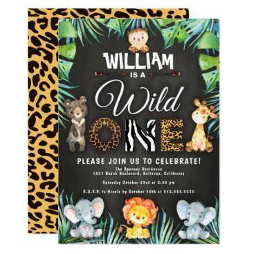 Wild One Safari 1st Birthday Party Invitation