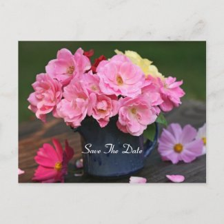 Wild Roses Save The Date Postcard
