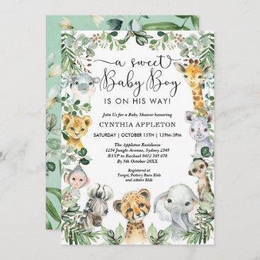 Wild Safari Animals Baby Shower Jungle Greenery Invitation
