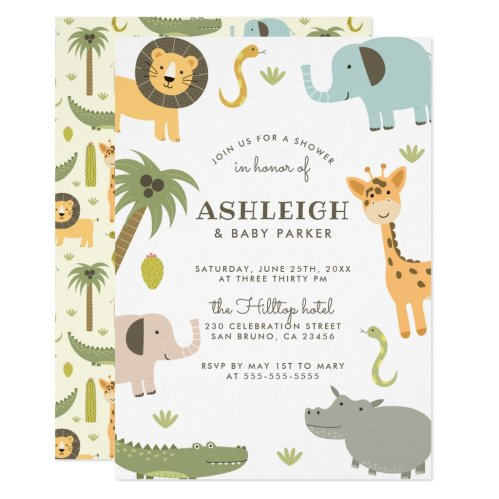 Wild Safari Cute Baby Shower Invitation