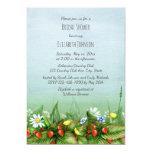 Wild strawberries wildflowers meadow bridal shower invitation