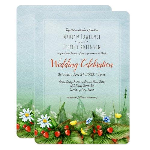 Wild strawberry meadow blue sky nature wedding card