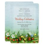 Wild strawberry meadow blue sky nature wedding invitation