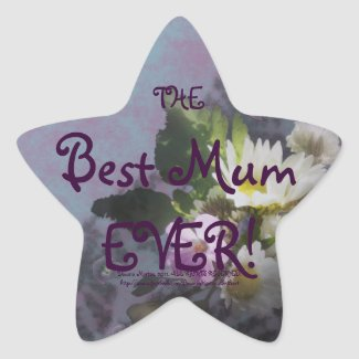 wildflower, Best Mum EVER! heart sticker