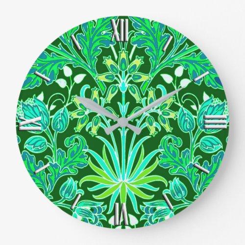 William Morris Hyacinth Print, Emerald Green Large Clock