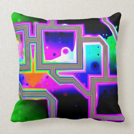 Window into the Universe, Abstract Magenta & Cyan Throw Pillow