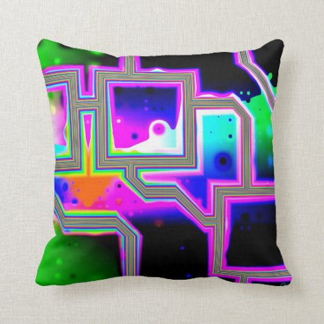 Window into the Universe– Magenta & Cyan Intersect Throw Pillow