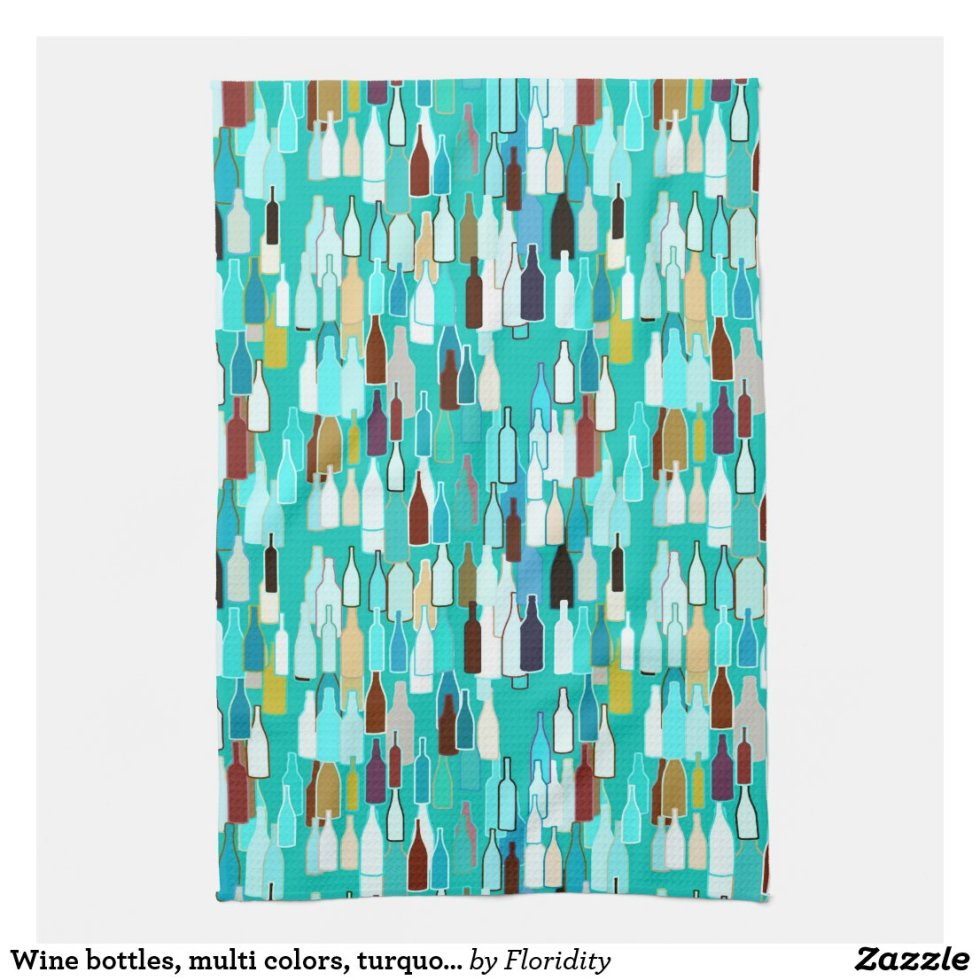 Wine bottles, multi colors, turquoise background kitchen towel