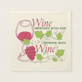 Wine Improves With Age Standard Cocktail Napkin