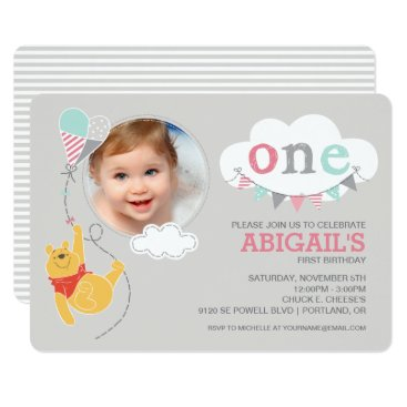 Winnie the Pooh | Baby Girl Kite - First Birthday Card