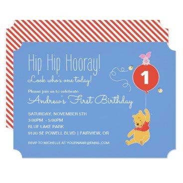 Winnie the Pooh Balloon | Boy - First Birthday Card