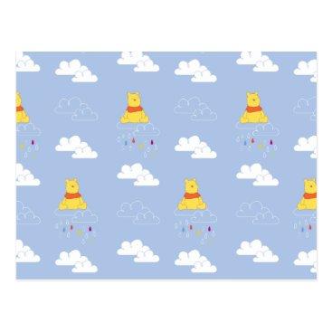 Winnie the Pooh | Cloudy Raindrop Pattern Postcard
