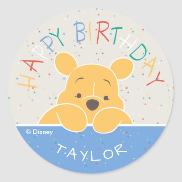 Winnie the Pooh | Happy Birthday Classic Round Sticker