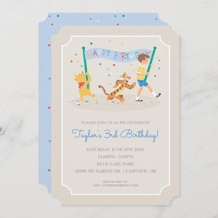 winnie the pooh happy birthday invitation zazzle com