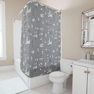 Winnie the Pooh | Hello Friends Grey Pattern Shower Curtain
