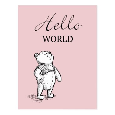 Winnie the Pooh | Hello World Quote Postcard