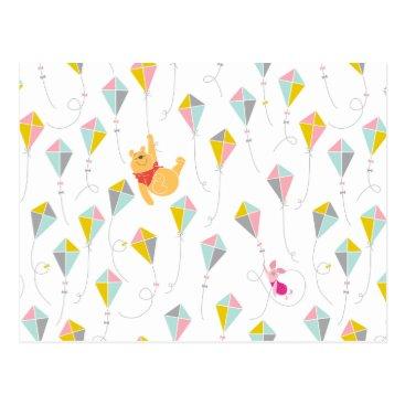 Winnie the Pooh | Pastel Kite Pattern Postcard