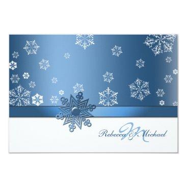Winter Blue and White Snowfalkes RSVP Cards