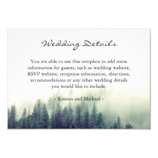 Winter Forest Pine Trees Wedding Details Reception Card