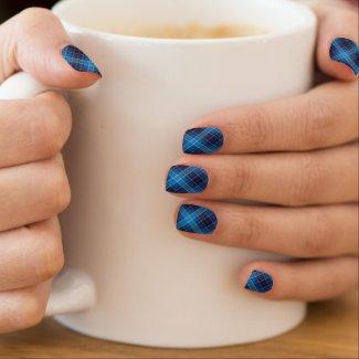 Winter Midnight tartan pattern blue shade Minx® Nail Art