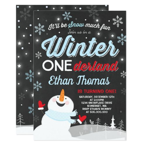 Winter ONEderland Birthday Invitation Snowman Blue