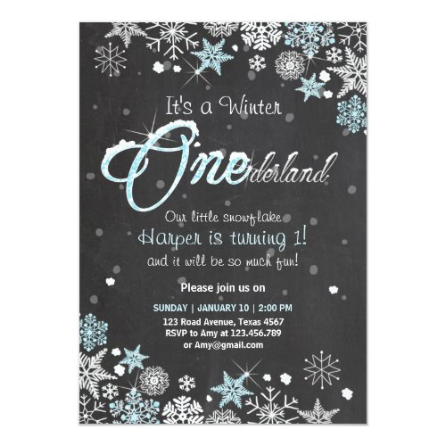 Winter Onederland birthday party invite Blue white
