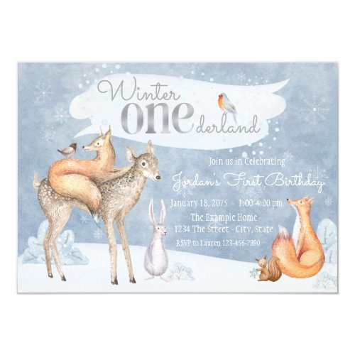 Winter ONEderland First Birthday Party Invitation