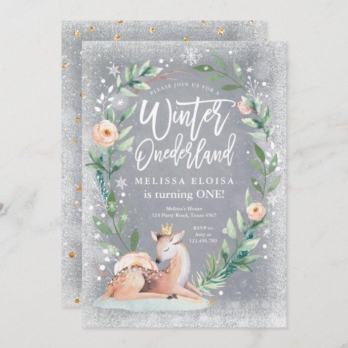 winter onederland floral silver woodland birthday invitation zazzle com