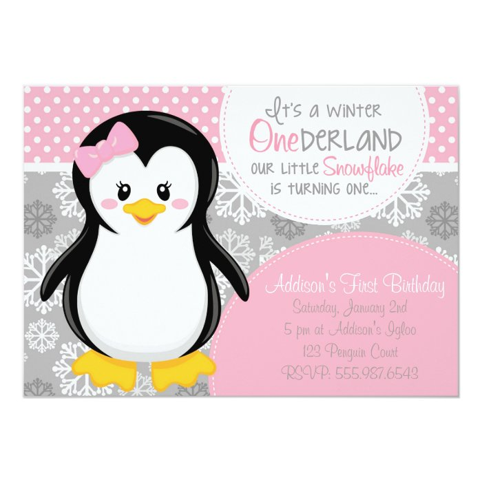Winter ONEderland Pink Penguin Invitation Zazzle