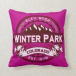 Winter Park Logo Raspberry Throw Pillow