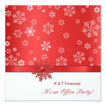 Winter Red & White Snowflake Office Party Invitation